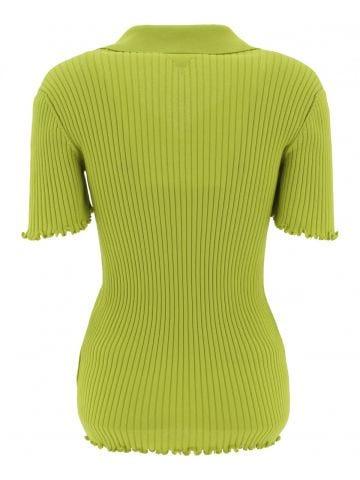 Green ribbed knit polo shirt
