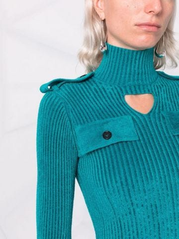 Blue cut-out ribbed sweater