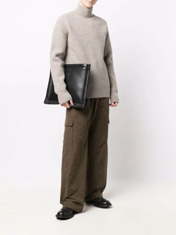 Grey roll-neck ribbed-knit jumper