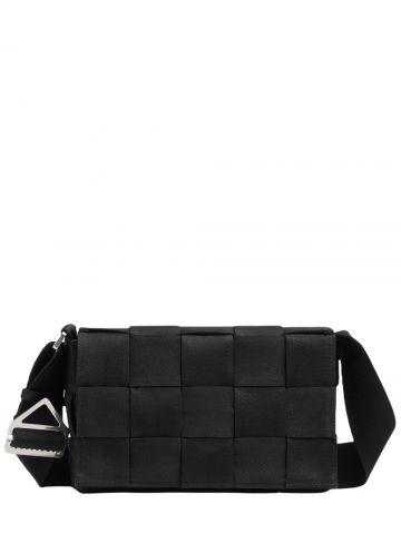 Small black intreccio webbing cross-body bag