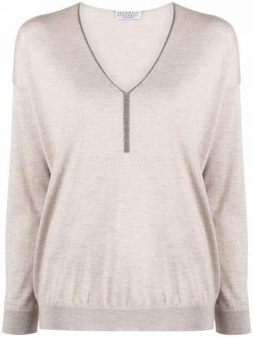Beige metallic detail sweater