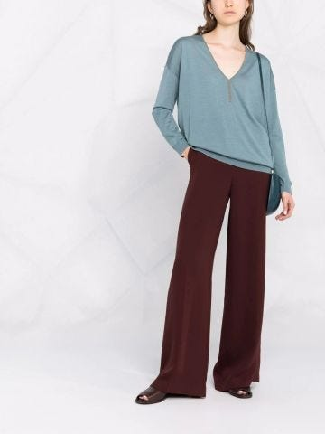 Blue Monili-embellished V-neck sweater