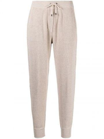 Pantaloni sportivi a coste beige