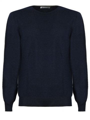 Blue virgin wool and cashmere sweater