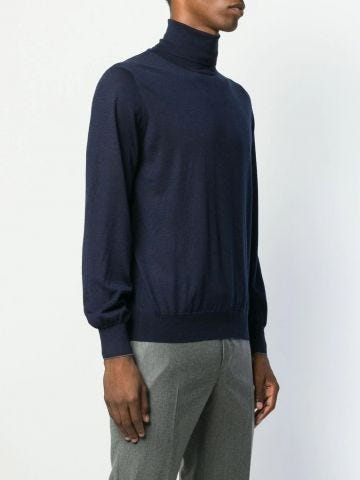 Navy blue wool-cashmere blend roll neck sweater