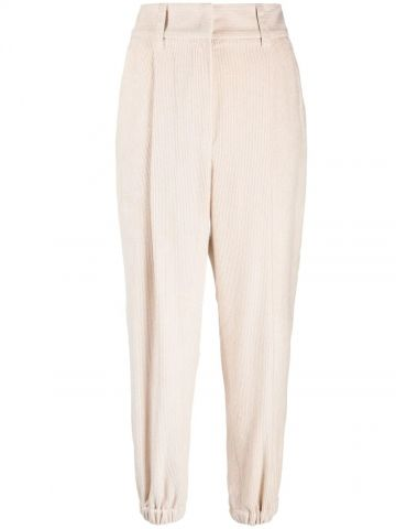 Beige tapered ribbed trousers