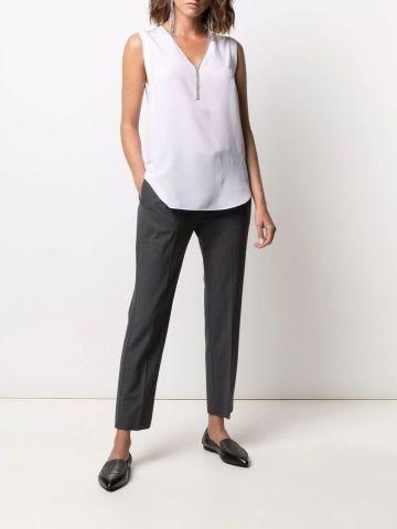 Monili-trim sleeveless silk blouse