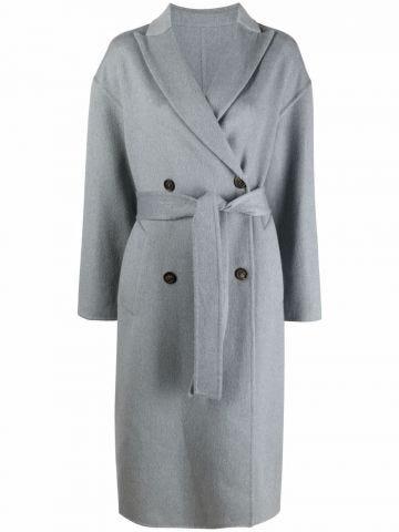 Cappotto doppiopetto in cashmere grigio