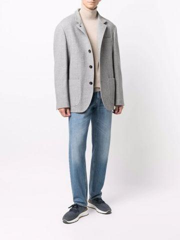 Grey virgin wool-cashmere blend single-breasted blazer