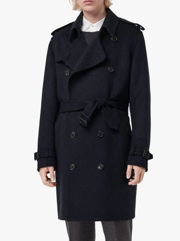 Blue double-breasted trench coat