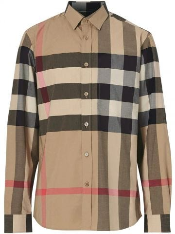 Check stretch cotton poplin shirt