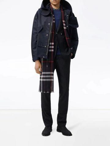 Lightweight check wool silk scarf