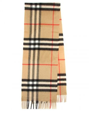 Giant Check scarf in beige cashmere