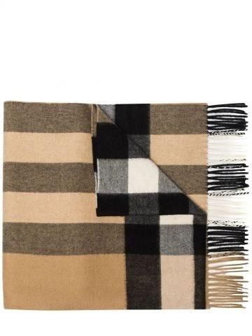 Beige check-pattern cashmere scarf