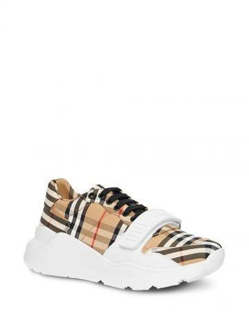 Beige Vintage Check Cotton Sneakers