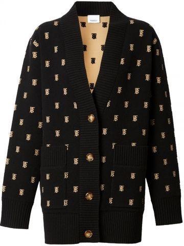 Monogram black wool cashmere blend oversized cardigan