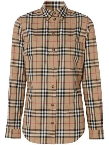 Button-down Collar Vintage Check Stretch Cotton Shirt