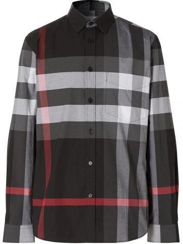Grey Check Stretch Cotton Poplin Shirt