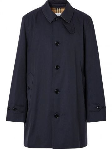 Blue single-breasted trench coat