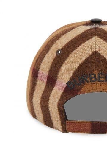 Brown Lambskin Trim Check Wool Baseball Cap