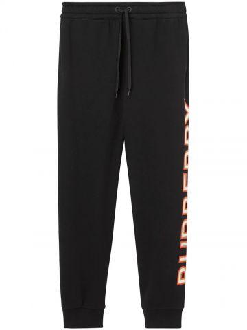 Logo print black cotton jogging pants