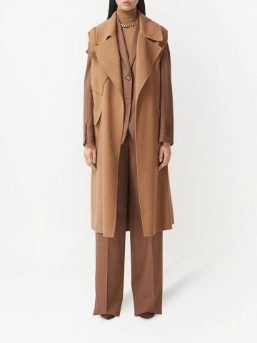 Cappotto a vestaglia senza maniche in cashmere double face marrone