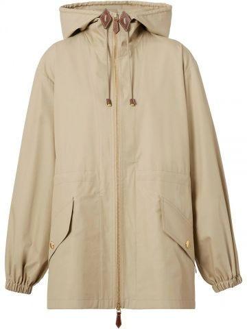 Lightweight beige hooded jacket