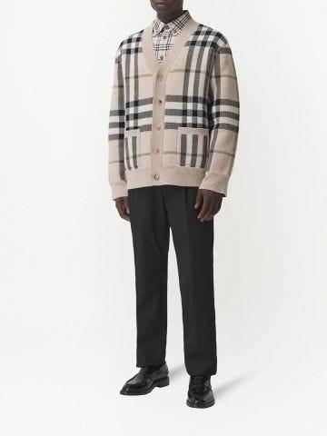 Beige Check Wool Cashmere Jacquard Cardigan