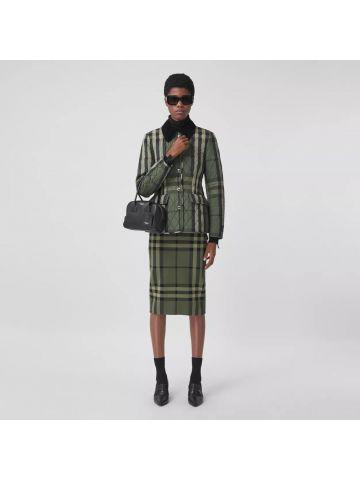 Military green check cotton silk blend jacquard skirt