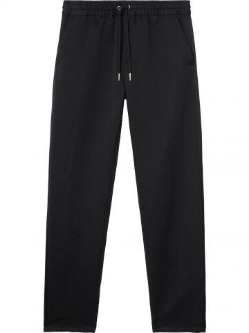 Black linen-cotton track pants