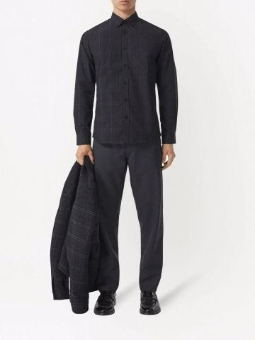 Black Check Cotton Poplin Shirt