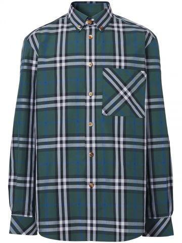 Green Check Cotton Poplin Shirt