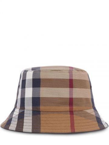 Brown Check Cotton Canvas Bucket Hat