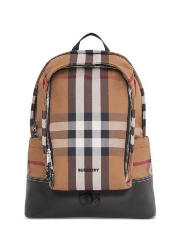 Large brown Check Cotton Canvas and Leather Backpack