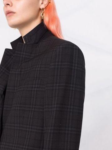 Grey check pattern blazer jacket