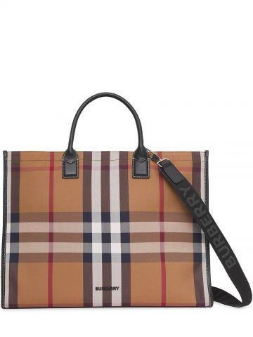 Brown cotton tote bag