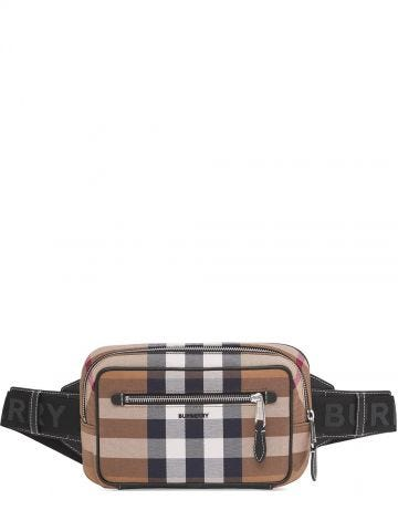 Brown Check Cotton Canvas and Leather Bum Bag