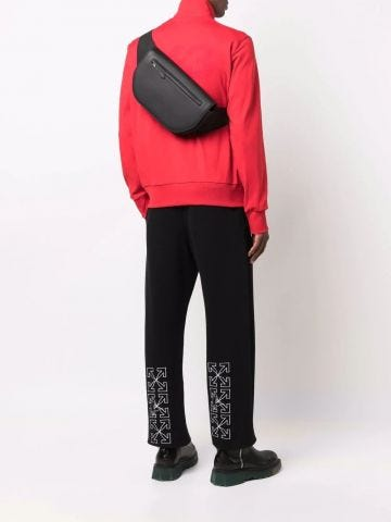 Black Large Grainy Leather Olympia Bum Bag