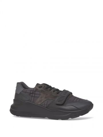 Black Vintage Check, Leather and Suede Sneakers