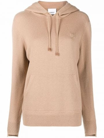 Camel brown embroidered logo knitted hoodie