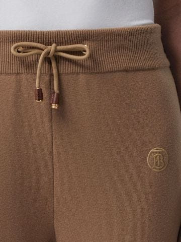 Brown TB monogram knitted track pants