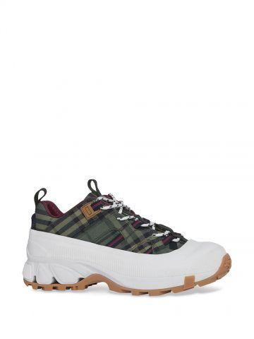 Green Check Cotton Arthur Sneakers