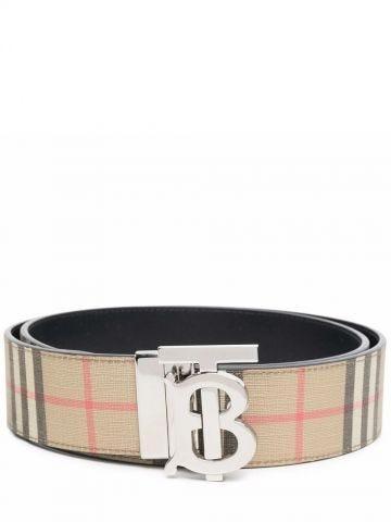 Beige reversible Monogram motif vintage check belt