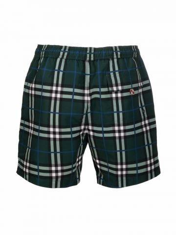 Forest green check-print swim shorts