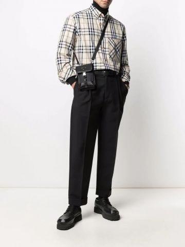 Beige button-down shirt