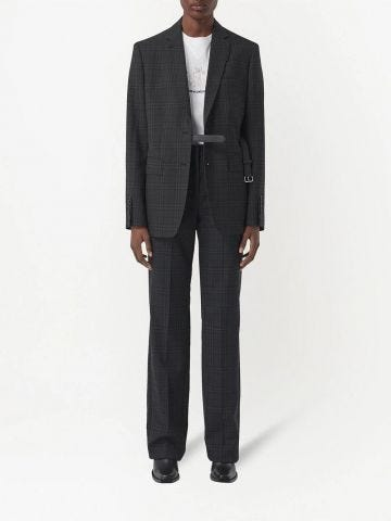 Gray checked tailored trousers