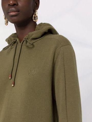 Green monogram motif knitted hoodie