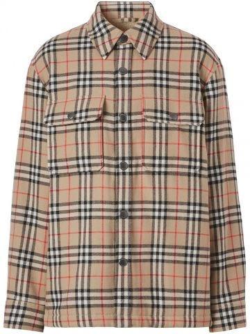Beige Vintage check shirt jacket