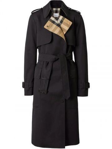 Black Check Panel Cotton Gabardine Trench Coat