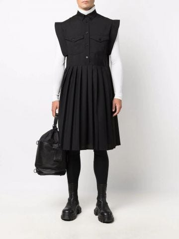 Black pleat-detail sleeveless shirt